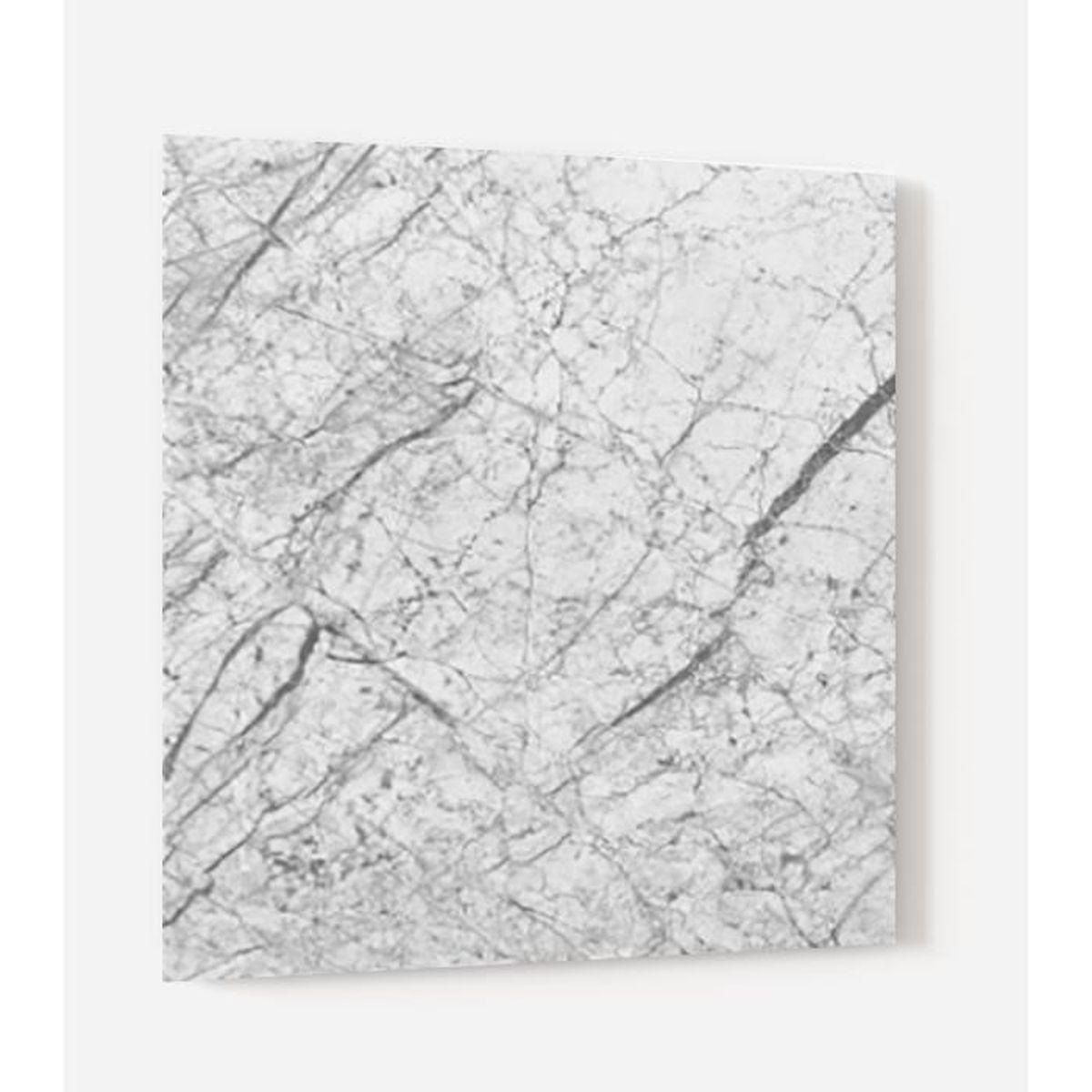 """Credence Cuisine Marbre Blanc fond de hotte """"marbre blanc et noir"""" en panneau composite"""