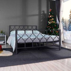 STRUCTURE DE LIT Aingoo lit double en métal - 140 x 190 cm - Noir