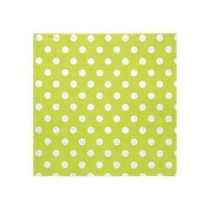 SERVIETTE JETABLE Serviettes vert anis à pois en papier