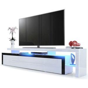 MEUBLE TV Meuble TV bas Corps en Blanc haute brillance / Bor