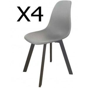 FAUTEUIL JARDIN  Lot de 4 chaises de jardin en aluminium et polypro