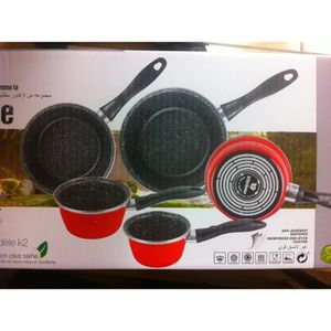 CASSEROLE Lot de 5 casseroles émail ROUGE  induction interie