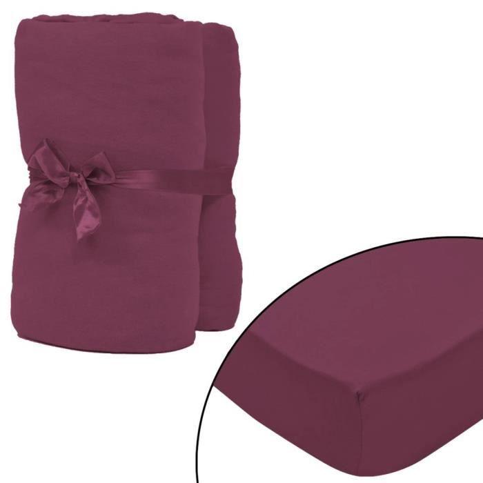 EQI Drap-housse 2 pcs en coton 160 gsm 140x200-160x200 cm Bordeaux