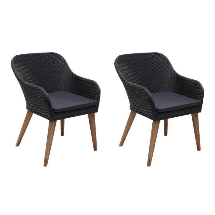 SIB Chaises d'extérieur 2 pcs avec coussins Résine tressée Noir#2
