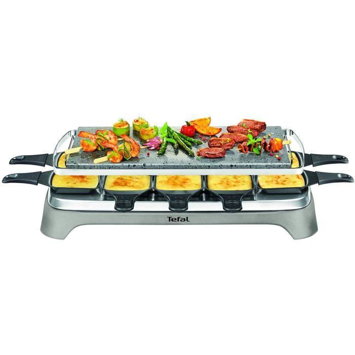 APPAREIL A RACLETTE Tefal PR457B12 Pierrade Raclette, 1350 watts, Plaque de cuisson en pierre + 10 po&ecircles à rev&eci4
