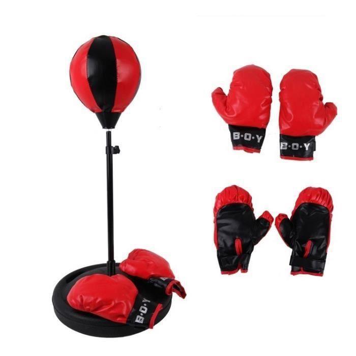 Hauteur réglable sac de boxe de sport avec des gants balle de frappe pour enfants(75-105cm) - Couleur aléatoire a550