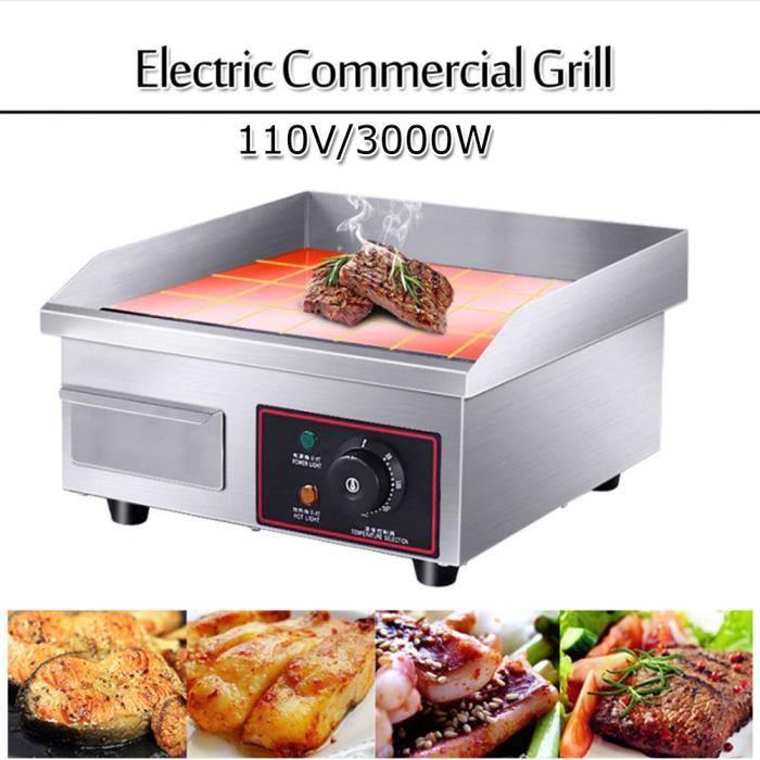 Planter Plancha Table Electrique Professionnelle Plaque Chauffante Electrique Commerciale BBQ en Inox -QNQ