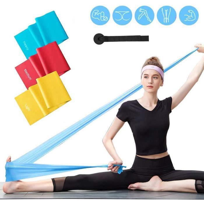 Bande Élastique Fitness Lot de 3,Latex Naturel Équipement d'Exercices pour Rééducation Physique Musculation Pilates Yoga