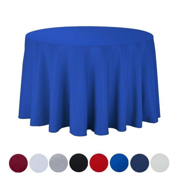 BIGOOD Nappe de Table Couleur Uni Ronde Décoration pour Fête Restaurant Bleu Roi Diamètre 122cm