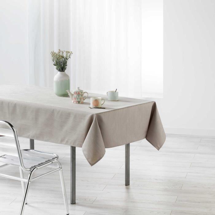 CDaffaires Nappe rectangle 140 x 250 cm jacquard enduit liany Gris