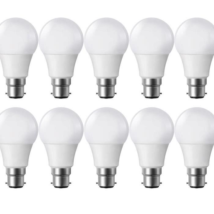 Lot de 10 Ampoules LED B22 9W eq 60W 806lm Blanc chaud 2700K