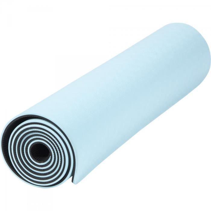 Tapis de Yoga - pilates - en TPE - double face bicolor noir et bleu de 180cm x 60cm x 0,6cm