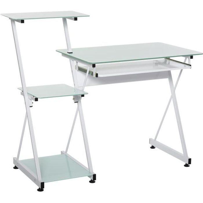 Bureau informatique design contemporain plateau + 3 étagères verre plateau clavier châssis métal blanc 116x54x100cm Blanc
