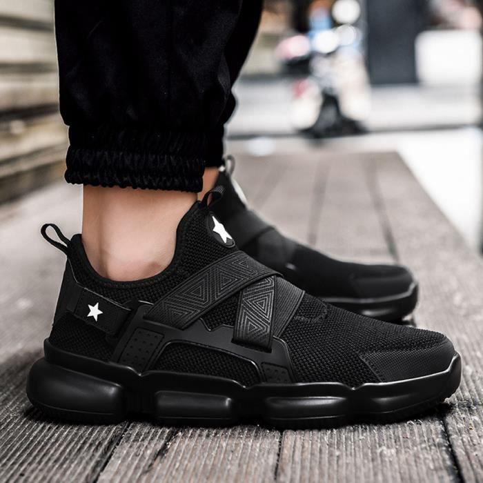 Mode pour hommes Chaussures de sport maille respirante étudiants Sneakers Casual Chaussures de course Noir