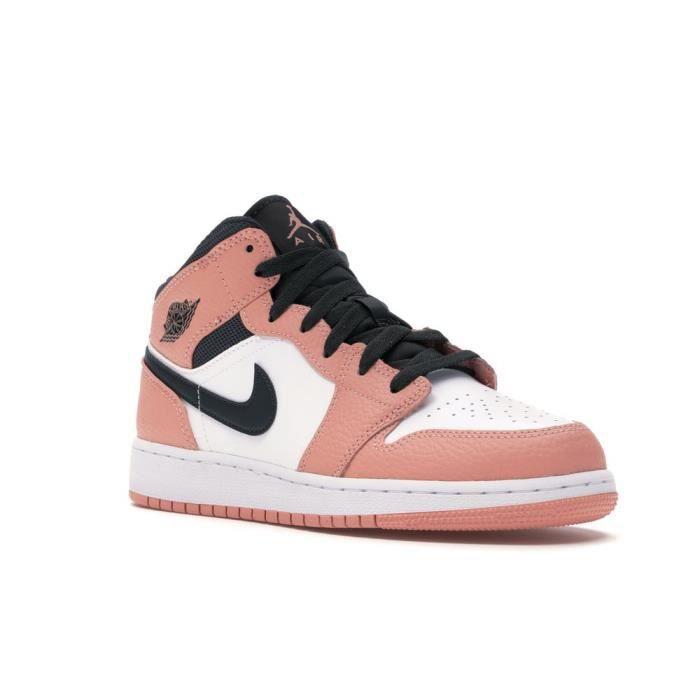 Air Jordans 1 Mid Femme Jordans One Pink Quartz Chaussures de Basket Pas Cher pour Fille Femme Sneakers