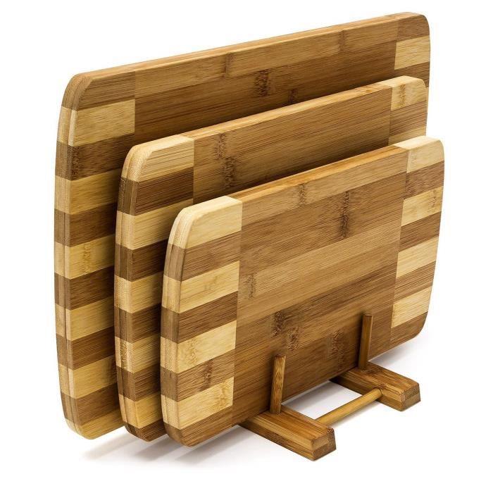 Relaxdays 10018877 Planches à découper Set de 3 pièces avec Support en Bois de Bambou Naturel écologique rayé Design Moderne et P