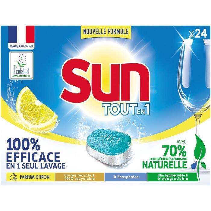 SUN - Tablettes lave-vaisselle Sun tout en 1 citron 24 doses
