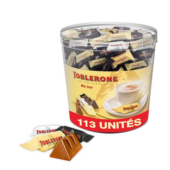 TOBLERONE Assortiment de 3 Mini Toblerone : Chocolat au Lait, Chocolat Noir, Chocolat Blanc - Tubo de 113 mini barres x 904 g