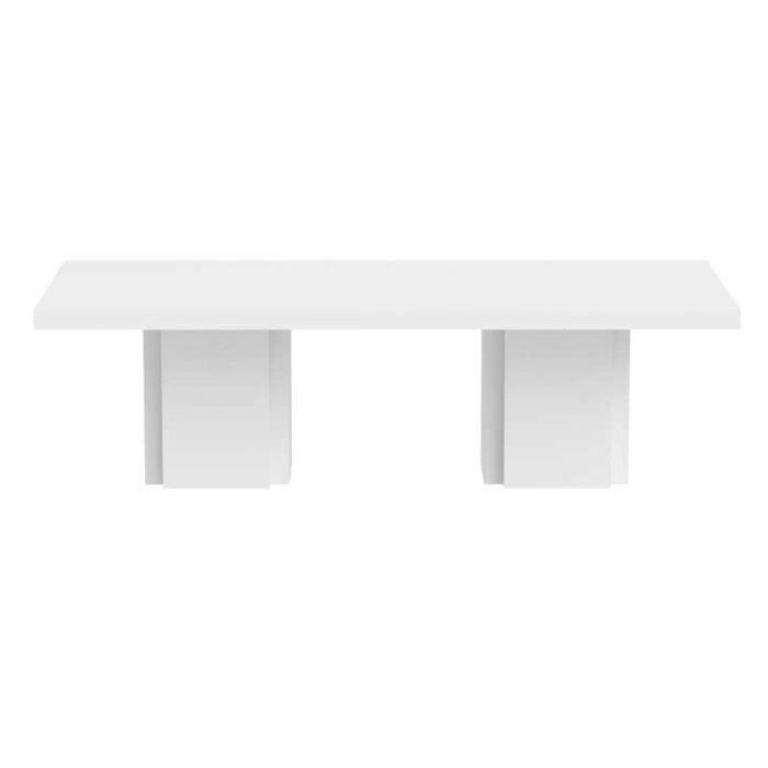 Table de repas rectangulaire Blanc brillant - BELLESA - L 262 x l 130 x H 75