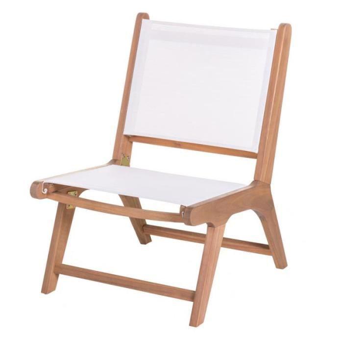 Chaise basse Bois d'acacia/Textilène Blanc - OLUVELI - L 50 x l 64 x H 75