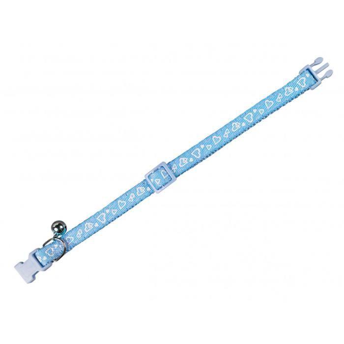 Collier chat. COEUR bleu. 20-30cm x 10mm.-Vadigran 3,000000 Bleu