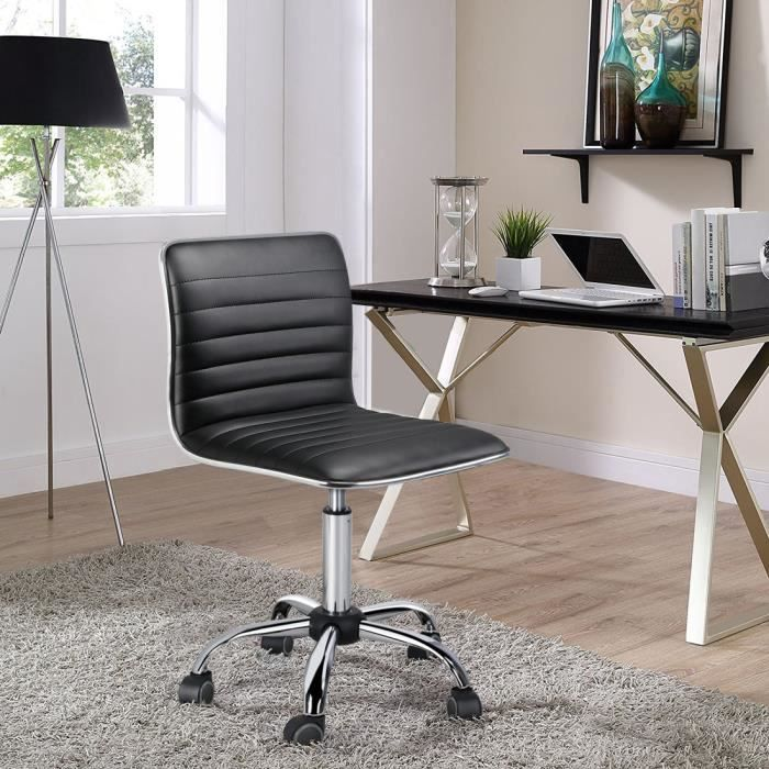 Yaheetech Chaise de Bureau à Dossier Bas Fauteuil de Travail à Roulettes Noir Assise Réglable Max.120 kg, 48,5 x 48,5 x 78,5-93 cm