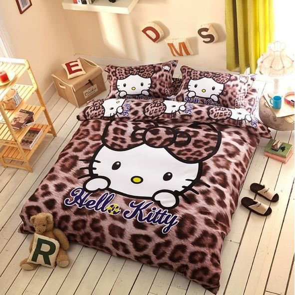 parure de lit hello kitty l opard brun coton 200 230 cm 3d. Black Bedroom Furniture Sets. Home Design Ideas