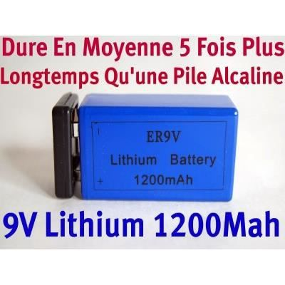 pile 9v lithium 1200mah achat vente piles cdiscount. Black Bedroom Furniture Sets. Home Design Ideas