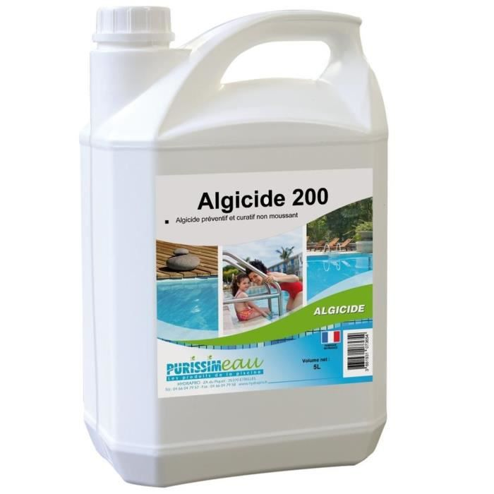 Algicide anti algues 200 concentre bidon de 5l hydrapro for Algicide piscine