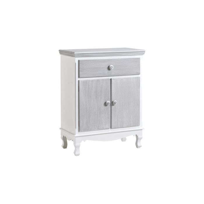 meuble de rangement pin massif blanc 2 portes 1 tiroir gris blanchi achat vente petit meuble. Black Bedroom Furniture Sets. Home Design Ideas