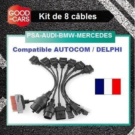 kit 8 cables psa bmw audi mercedes compatible autocom delphi valise diag achat vente. Black Bedroom Furniture Sets. Home Design Ideas