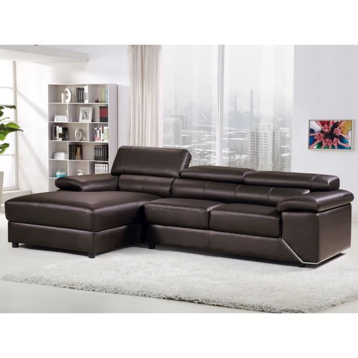 canap d 39 angle cuir pvc london 4 places chocolat. Black Bedroom Furniture Sets. Home Design Ideas