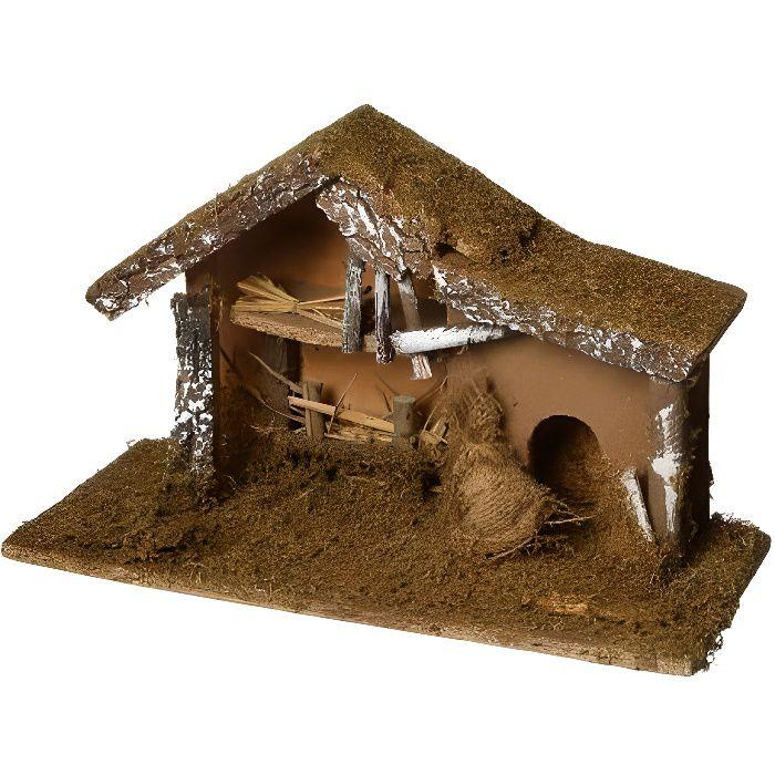 Crèche de Noël vide mousse et écorces   H 24 cm   Achat / Vente
