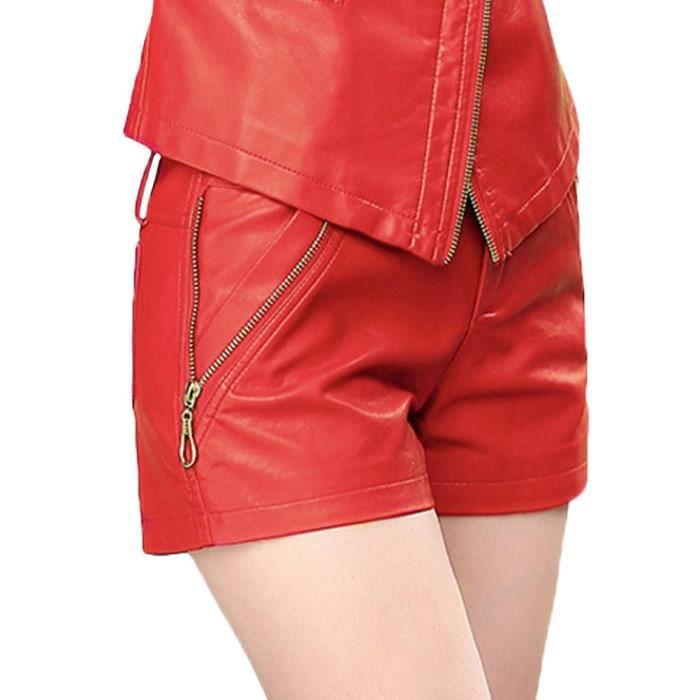 Shorts en cuir Faux sexy femmes avec fermeture