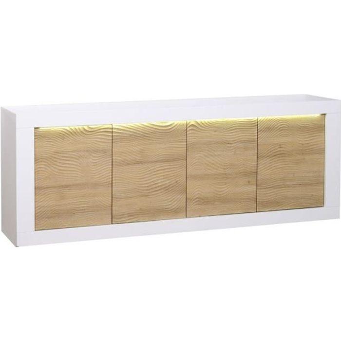 BUFFET - BAHUT  Buffet 4 portes Blanc/Chêne clair à LEDs - MARKS -