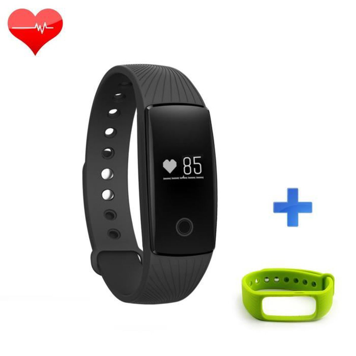 riversong fitness tracker wave hr avec moniteur noir verte bande de remplacement achat. Black Bedroom Furniture Sets. Home Design Ideas