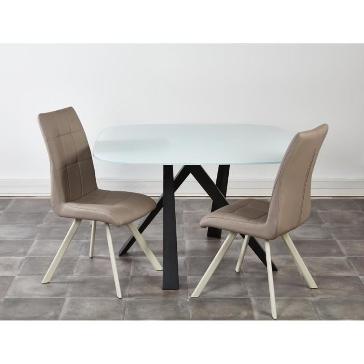 Ensemble table manger 2 chaises usha taupe achat - Table a manger taupe ...