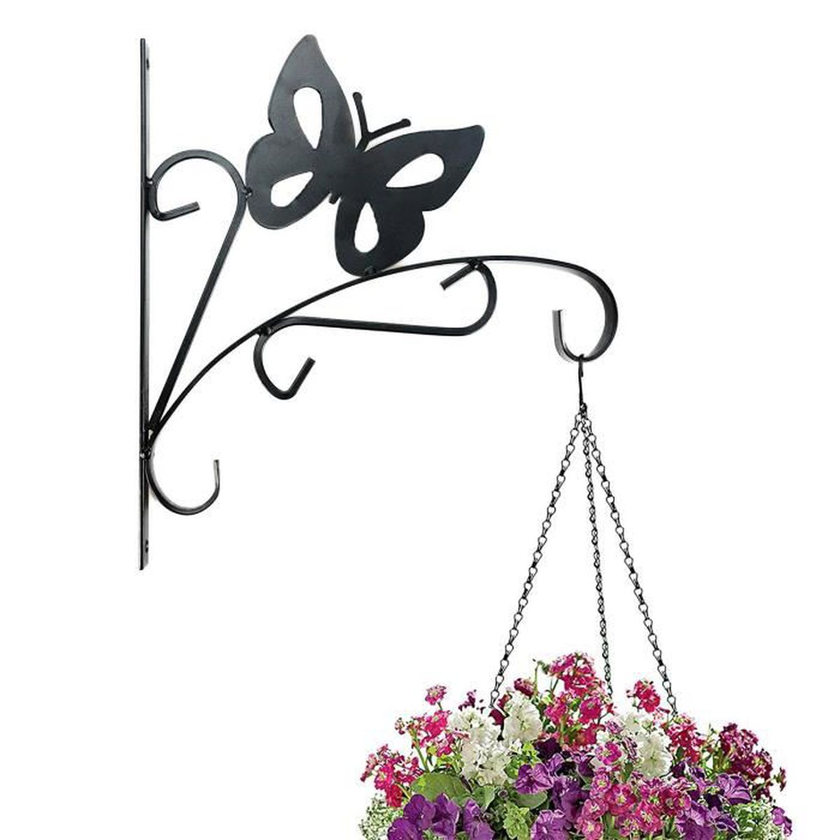 suspension murale crochet plante - pot de fleur suspendu - papillon