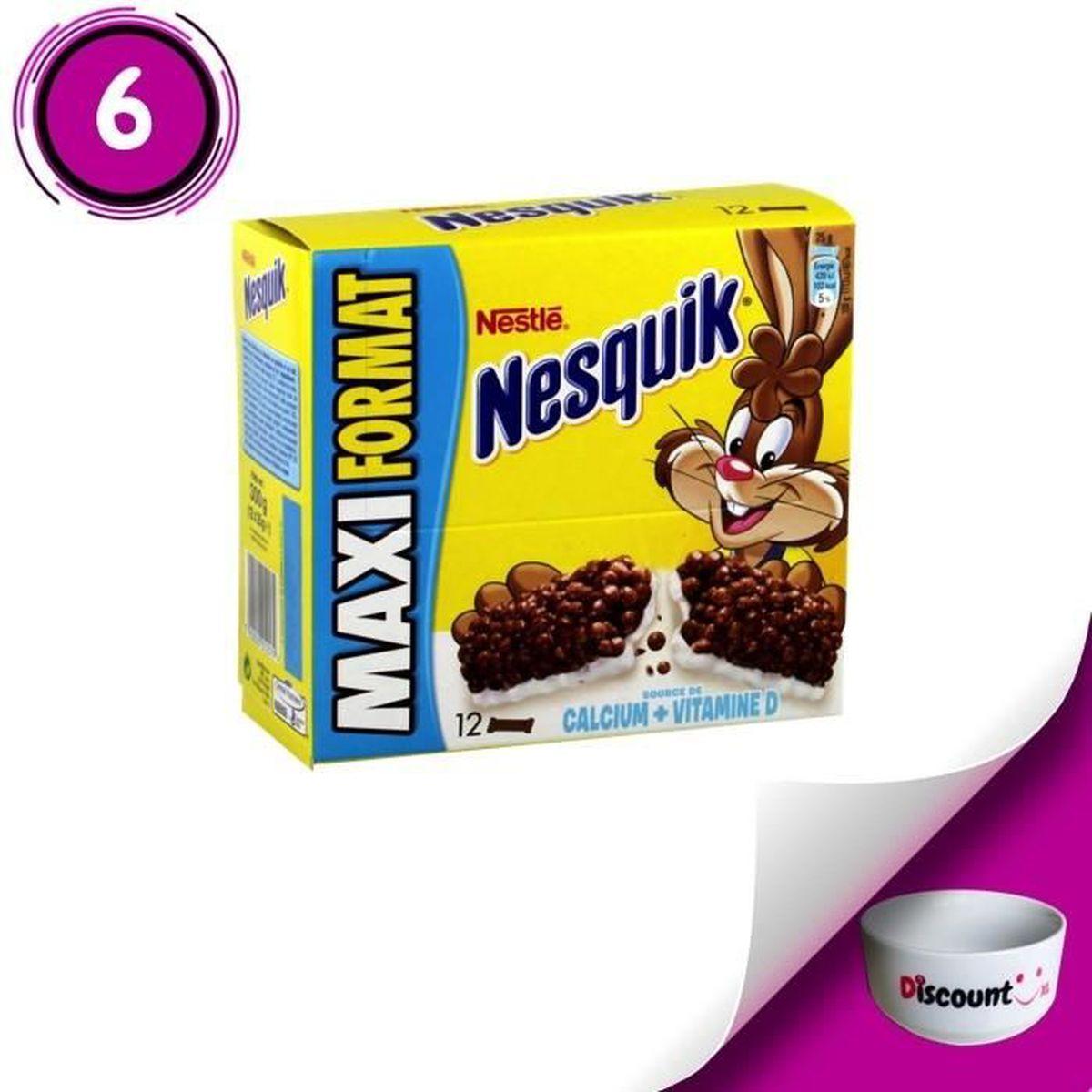 BARRE DE CEREALE Céréales Nestlé Barres au chocolat Nesquik 6 x 12