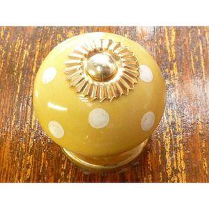 POIGNÉE - BOUTON MEUBLE Boutons en porcelaine poix jaune poussin