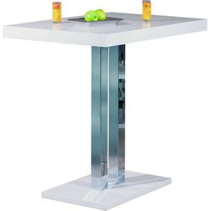 Table a manger 120cm blanche achat vente table a - Table de bar blanc laque ...