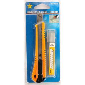 CUTTER Mini cutter à lame + 10 lame 13 x 3 cm couleur