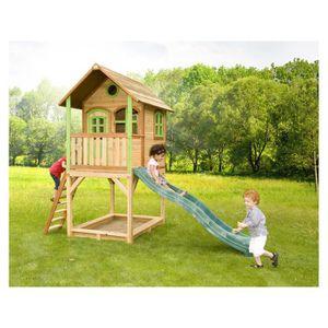 BALANÇOIRE - PORTIQUE Maison enfant exterieur en bois Sarah  3.73 x 1.72