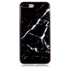 RXKEJI Coque pour iPhone 7 Plus Coque iPhone 8 Plus Design Marbre Brillant Noir