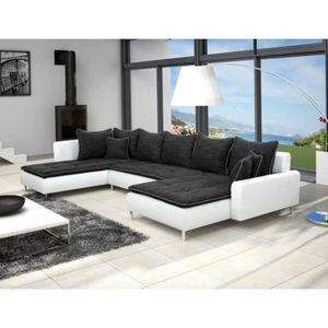 CANAPÉ - SOFA - DIVAN Canapé panoramique DANTE en tissu noir et simili c