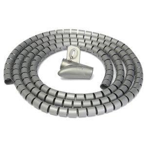 GOULOTTE - CACHE FIL Gris 2M Ø15mm Gaine Tube Spirale Range Cache Câble