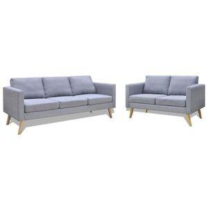 CANAPÉ - SOFA - DIVAN Jeu de canapé à 2 places et à 3 places Tissu Gris