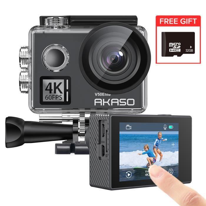 AKASO V50 Elite Caméra Sport 4K/60fps Wifi & Télécommande Commande Vocale Ecran tactile EIS Caméra Sportive Etanche Sous-Marine noir