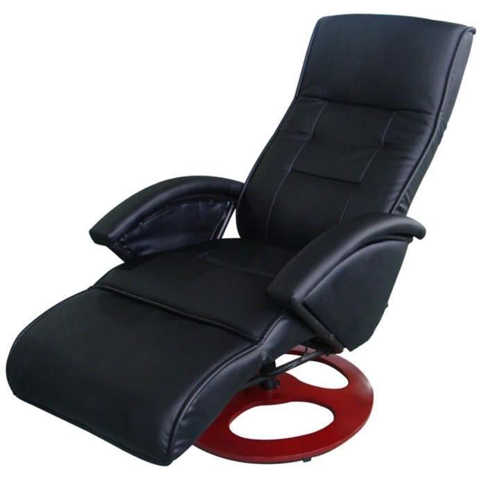 Fauteuil électrique de massage Cuir synthétique Noir EU plug-TIP