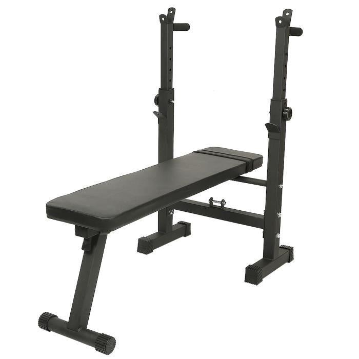 Banc de Musculation Multifonction Pliable Hauteur Réglable avec Support pour Haltère Noir